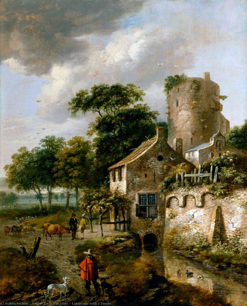 Wikioo.org - The Encyclopedia of Fine Arts - Painting, Artwork by Roelof Jansz Van Vries - Landscape with a Tower