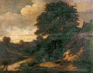 River Scene in a Village