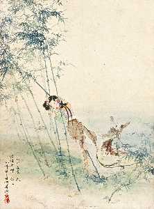 LADY LEANING AGAINST THE BAMBOO