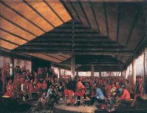 International Indian Council (Held at Tallequah, Indian Territory, in 1843), (painting)