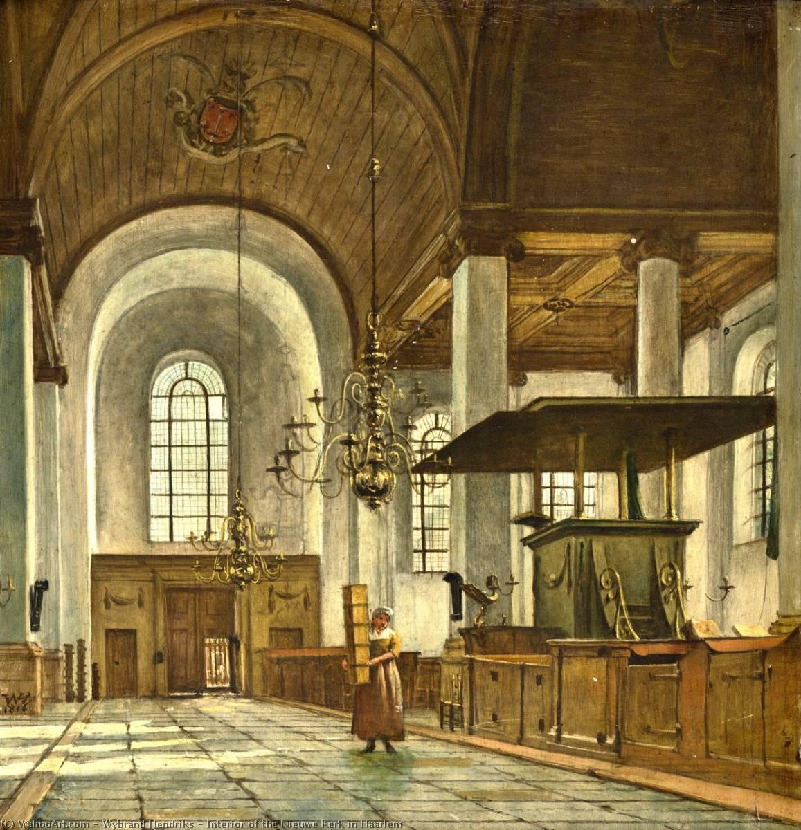 Wikioo.org - The Encyclopedia of Fine Arts - Painting, Artwork by Wybrand Hendriks - Interior of the Nieuwe Kerk in Haarlem