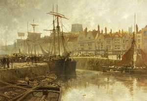 Bristol Docks, with Fishing Boats and Other Shipping at Anchor beside the Quayside
