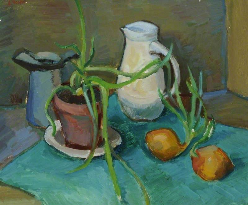 Wikioo.org - The Encyclopedia of Fine Arts - Painting, Artwork by Arthur Goodwin - Still Life, White Jug and Onions