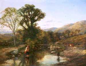paisaje del Mañana  también  conocido  como  cruce  el  corriente