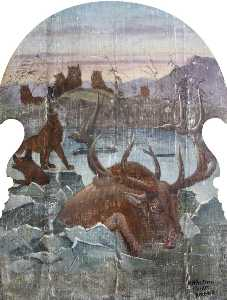 Hatwell's 'Gallopers' Wolves Hunting Deer (bottom centre panel)