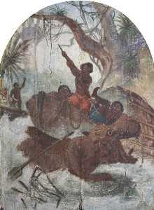 Hatwell's 'Gallopers' Hippopotamus Hunt (bottom centre panel)