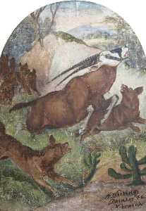 Hatwell's 'Gallopers' Wild Dogs Attacking Antelope (bottom centre panel)