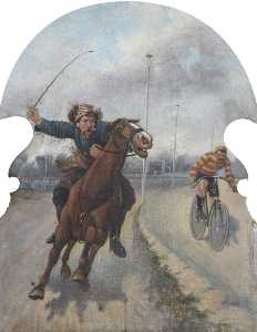 Hatwell's 'Gallopers' Horse and a Cyclist (bottom centre panel)