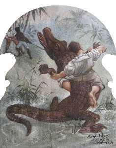 Hatwell's 'Gallopers' Man Wrestling an Alligator (bottom centre panel)