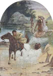 Hatwell's 'Gallopers' Cowboy Chased by Indians (bottom centre panel)