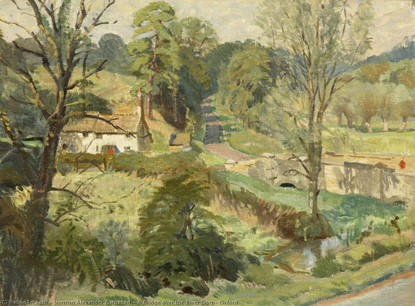 Wikioo.org - The Encyclopedia of Fine Arts - Painting, Artwork by Norman Alexander Buchanan - A Bridge over the River Dorn, Oxford