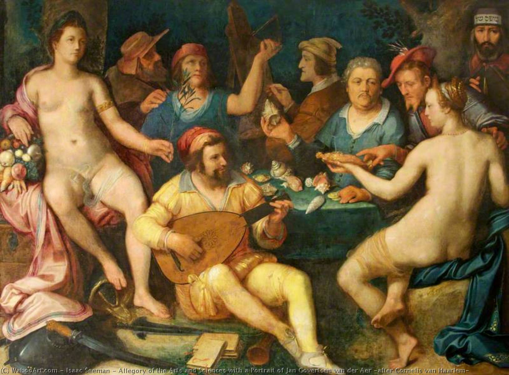 Wikioo.org - The Encyclopedia of Fine Arts - Painting, Artwork by Isaac Seeman - Allegory of the Arts and Sciences with a Portrait of Jan Govertsen van der Aer (after Cornelis van Haarlem)