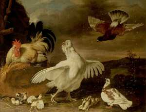 Cock and Hen with Chickens and Pigeons