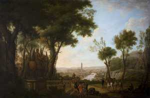 A View of the River Boyne with Gentlemen and Horses by a Statue to William III in the Foreground, the Boyne Obelisk Beyond