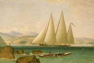 A Bermudian Schooner Yacht Offshore