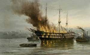 The Burning of the 'Wellesley'