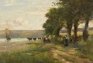 Landscape with Trees and Cattle