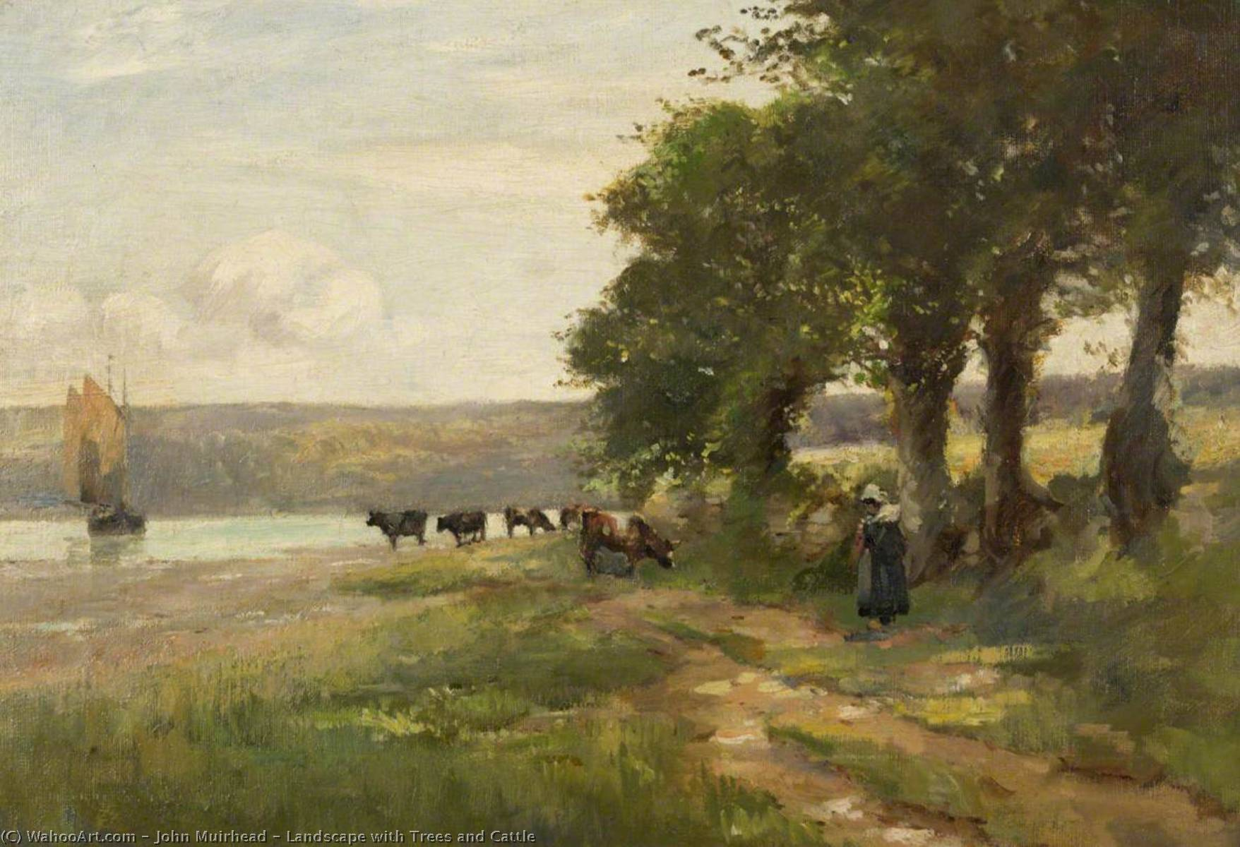 Wikioo.org - The Encyclopedia of Fine Arts - Painting, Artwork by John Muirhead - Landscape with Trees and Cattle
