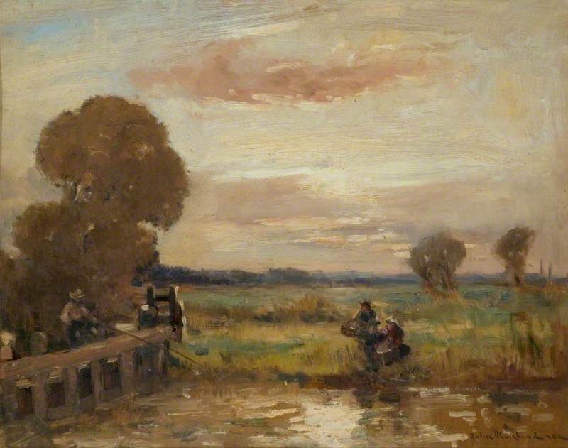 Wikioo.org - The Encyclopedia of Fine Arts - Painting, Artwork by John Muirhead - Water Meadows (possibly the Ouse between St Ives and Huntingdon)