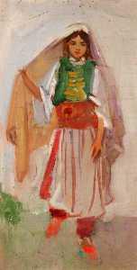 Arab Girl Holding Her Head Veil