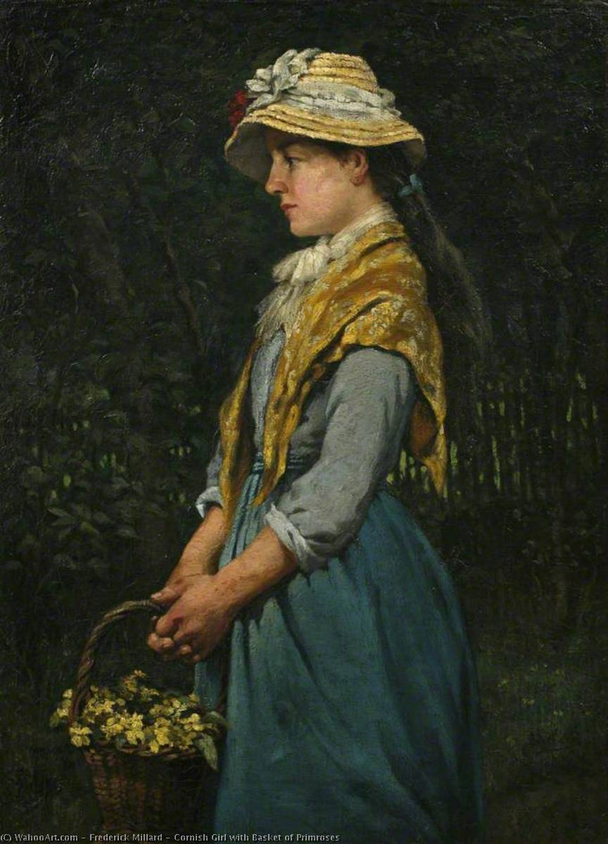 Wikioo.org - The Encyclopedia of Fine Arts - Painting, Artwork by Frederick Millard - Cornish Girl with Basket of Primroses