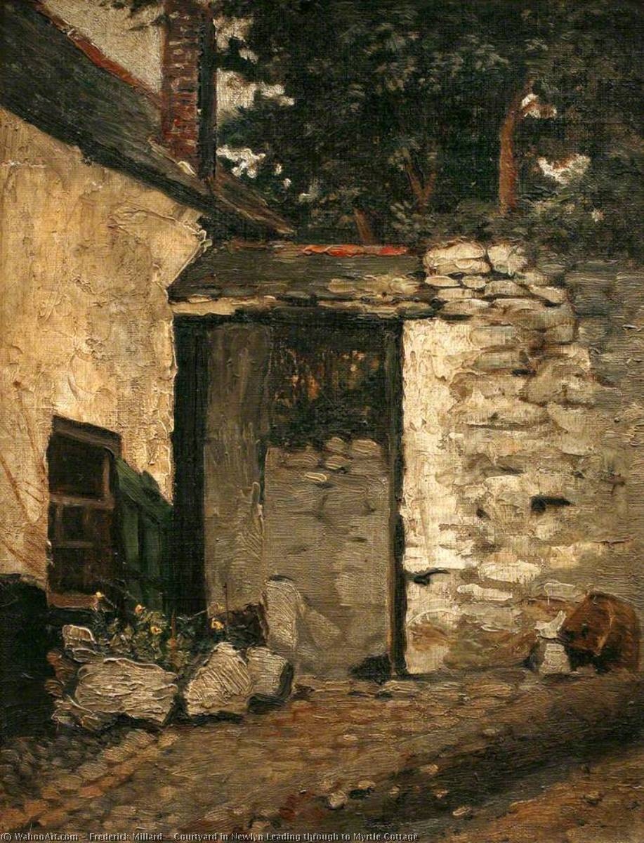 Wikioo.org - The Encyclopedia of Fine Arts - Painting, Artwork by Frederick Millard - Courtyard in Newlyn Leading through to Myrtle Cottage