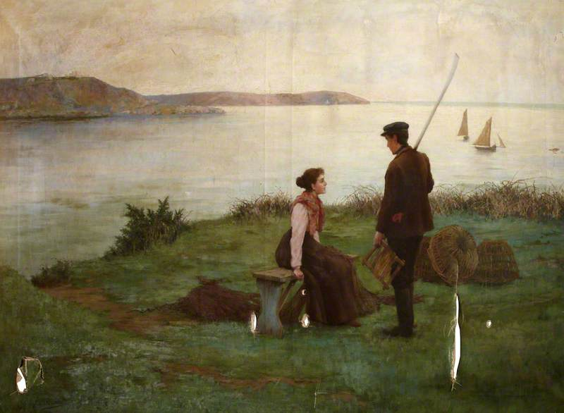 Wikioo.org - The Encyclopedia of Fine Arts - Painting, Artwork by Frederick Millard - A Fisherman and a Woman beside a Shore