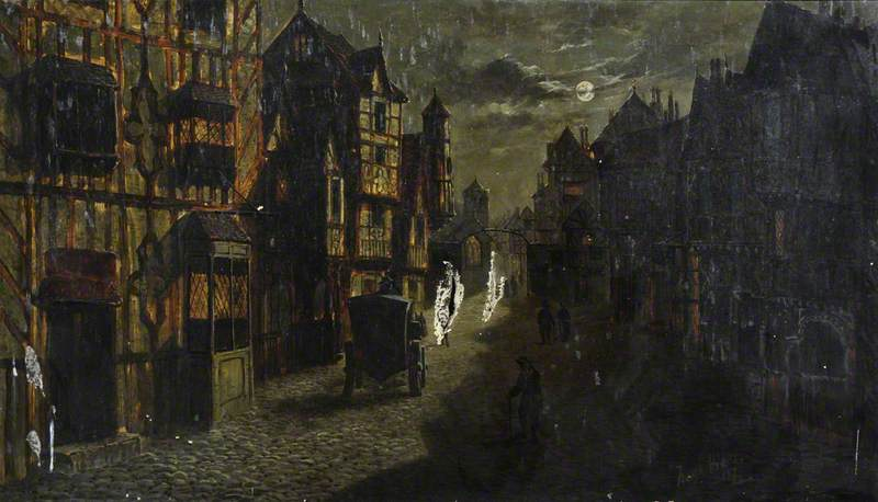 Wikioo.org - The Encyclopedia of Fine Arts - Painting, Artwork by Frank Hider - Moonlit Street Scene