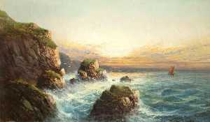 Rocky Coast Scene at Sunset, Devon