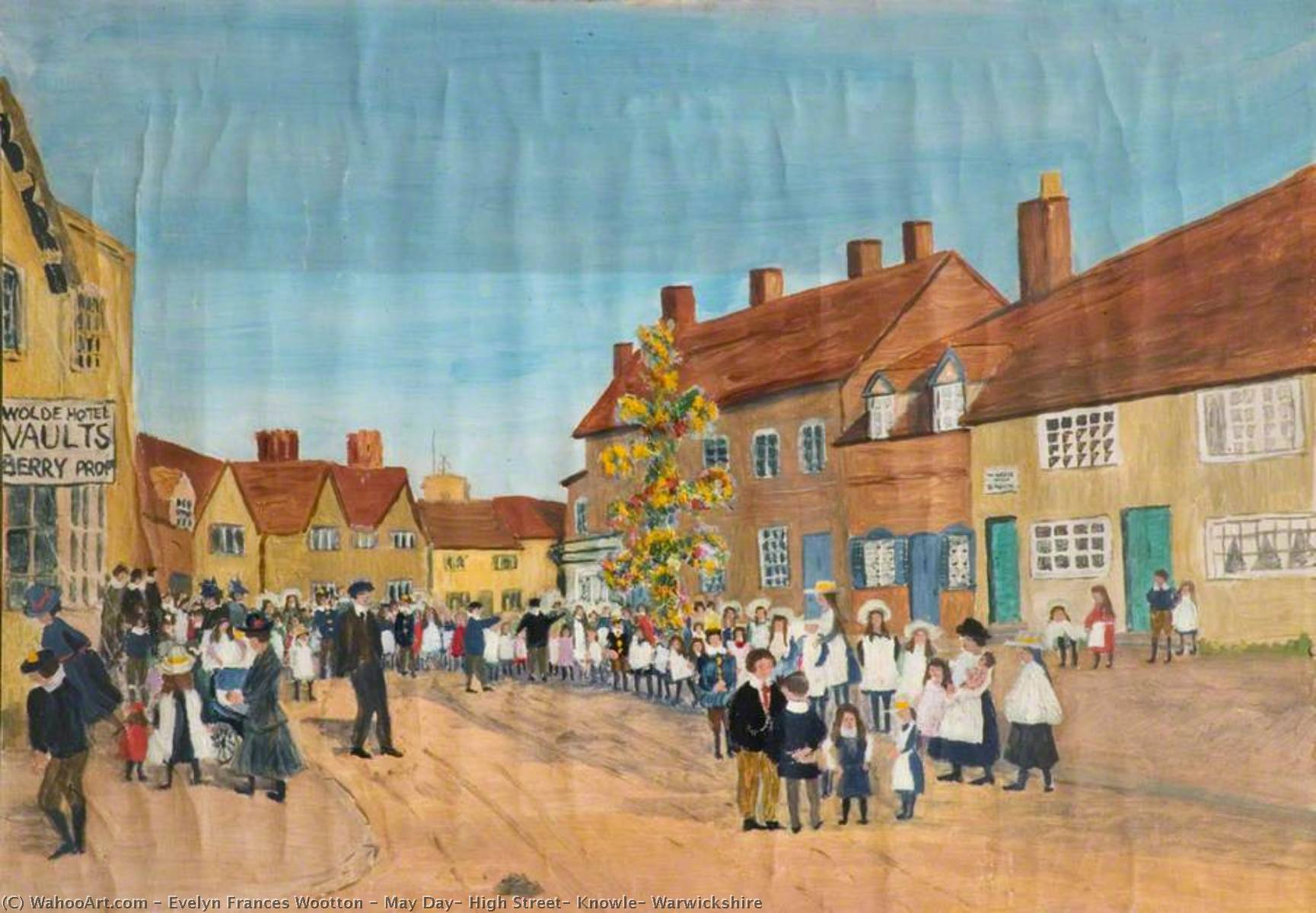 Wikioo.org - The Encyclopedia of Fine Arts - Painting, Artwork by Evelyn Frances Wootton - May Day, High Street, Knowle, Warwickshire