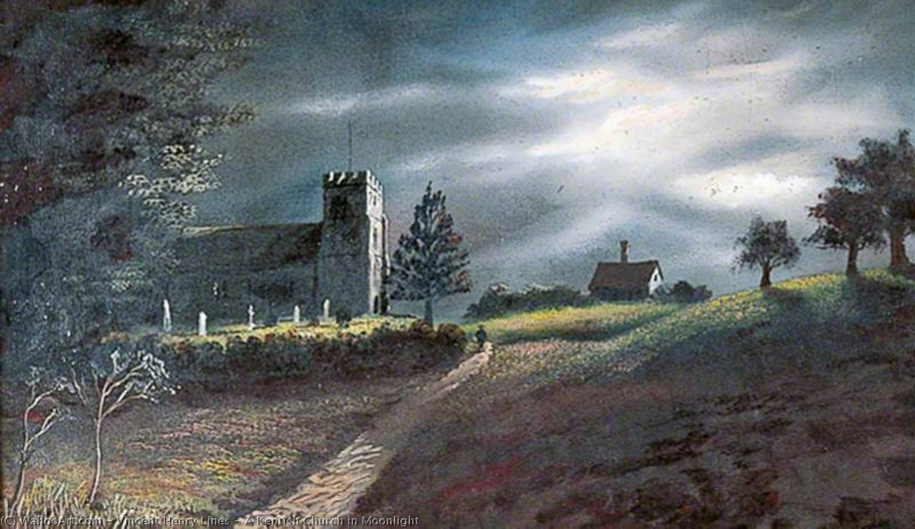 Wikioo.org - The Encyclopedia of Fine Arts - Painting, Artwork by Vincent Henry Lines - A Kentish Church in Moonlight