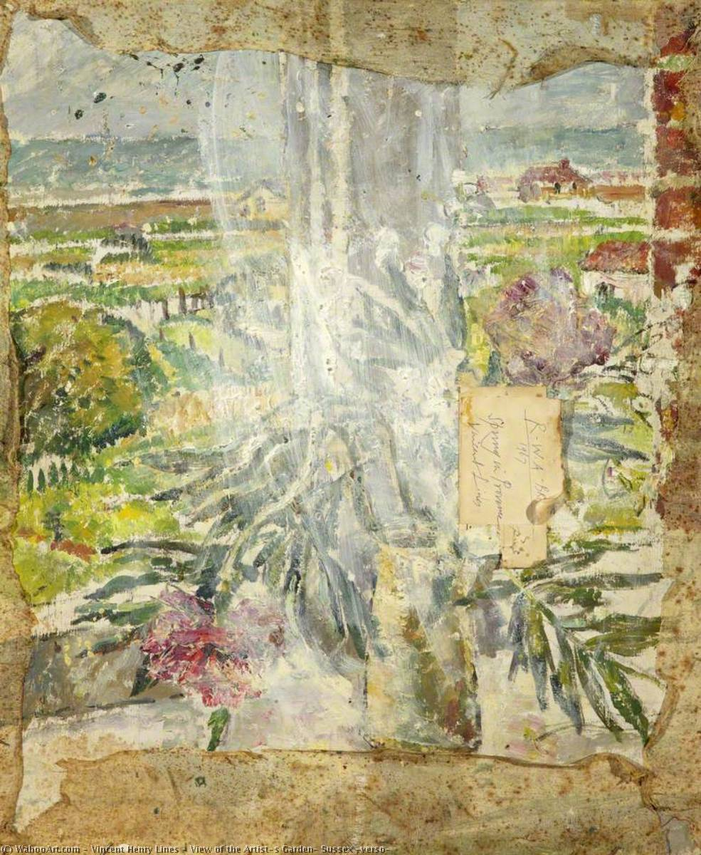 Wikioo.org - The Encyclopedia of Fine Arts - Painting, Artwork by Vincent Henry Lines - View of the Artist's Garden, Sussex (verso)