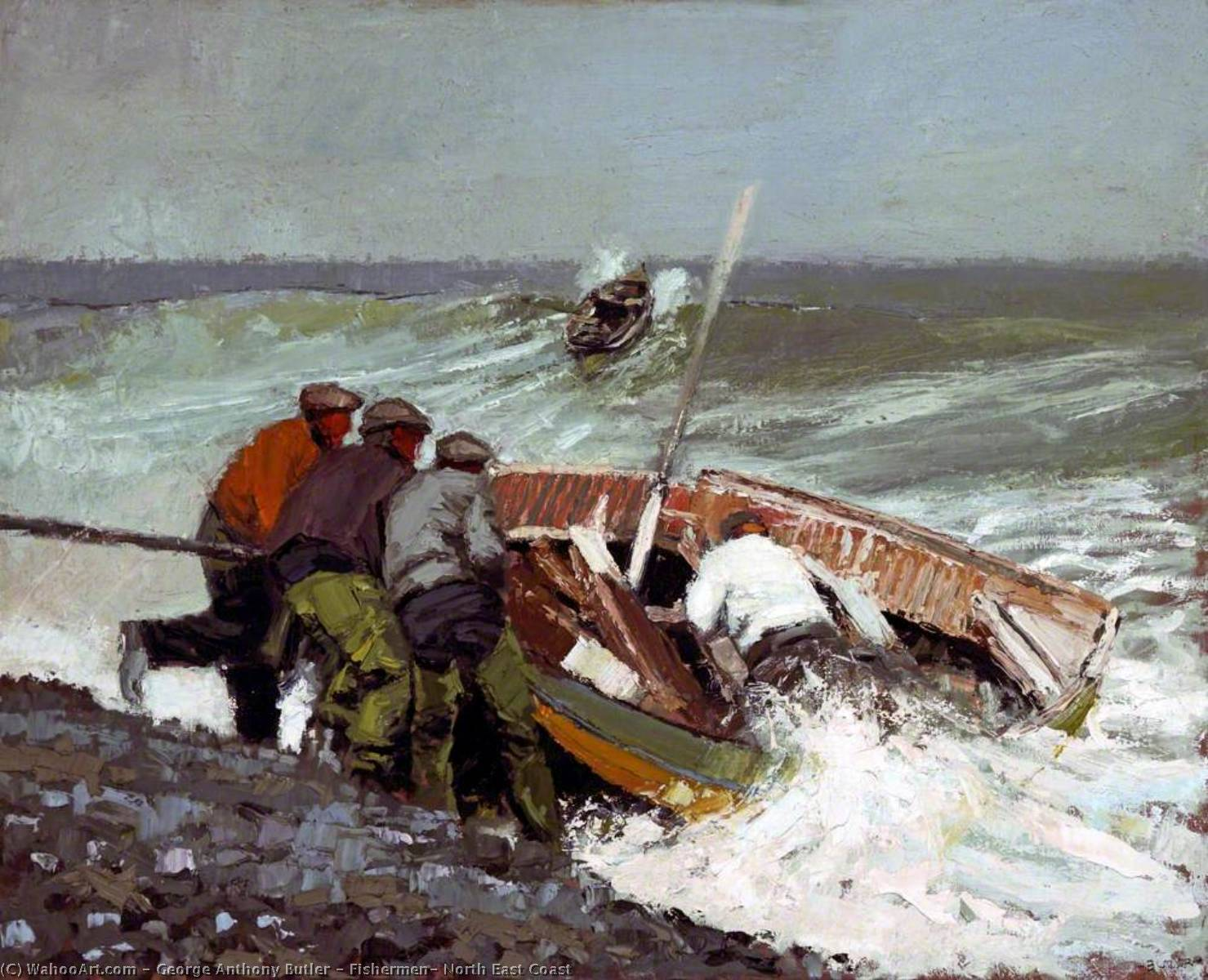 Wikioo.org - The Encyclopedia of Fine Arts - Painting, Artwork by George Anthony Butler - Fishermen, North East Coast