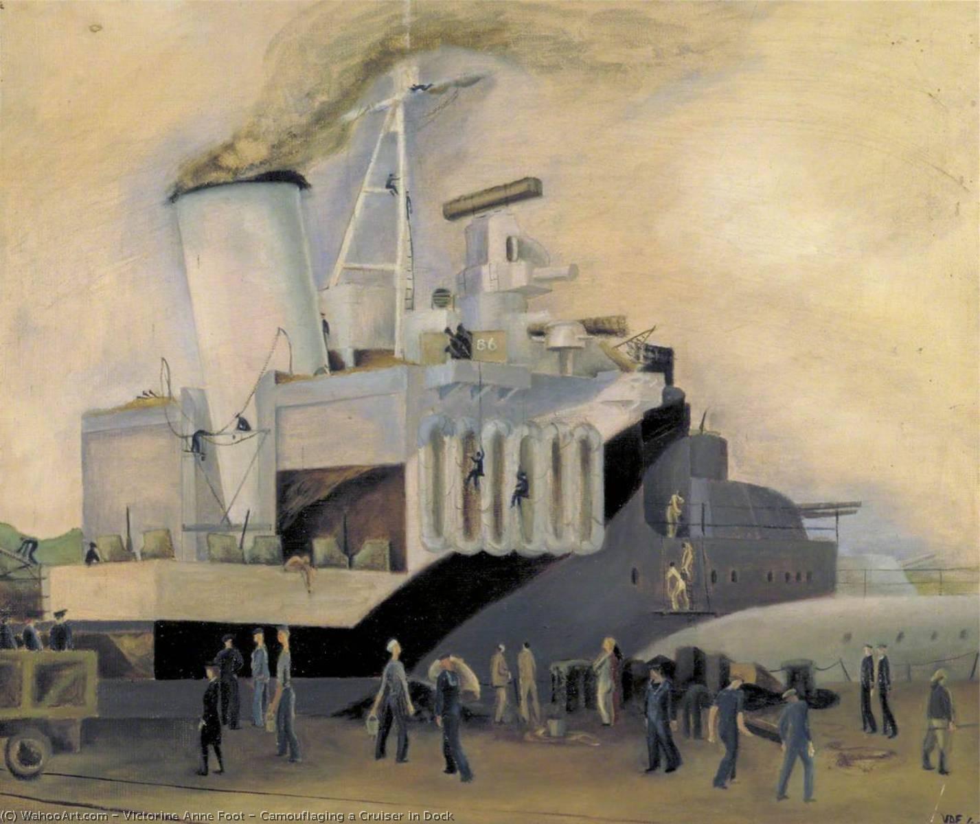 WikiOO.org - Enciclopedia of Fine Arts - Pictura, lucrări de artă Victorine Anne Foot - Camouflaging a Cruiser in Dock