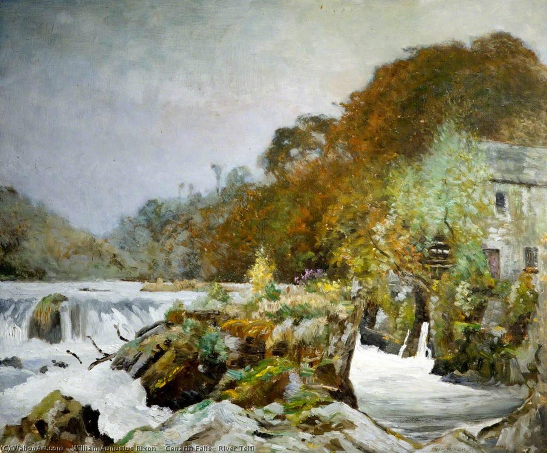 Wikioo.org - The Encyclopedia of Fine Arts - Painting, Artwork by William Augustus Rixon - Cenarth Falls, River Teifi