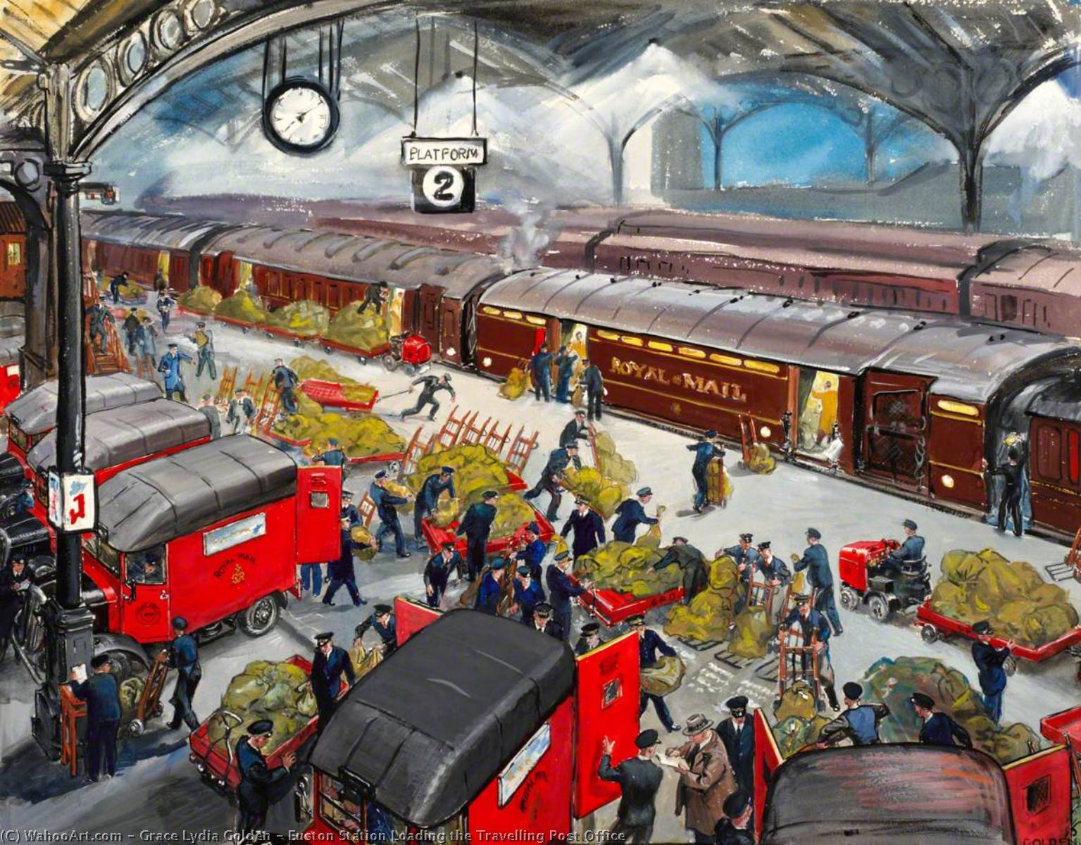Wikioo.org - The Encyclopedia of Fine Arts - Painting, Artwork by Grace Lydia Golden - Euston Station Loading the Travelling Post Office