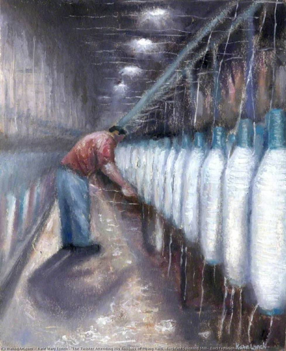 Wikioo.org - The Encyclopedia of Fine Arts - Painting, Artwork by Kate Mary Lynch - The Twister Attending His Bobbins of Plying Yarn, Buckfast Spinning Mill, Buckfastleigh, Devon