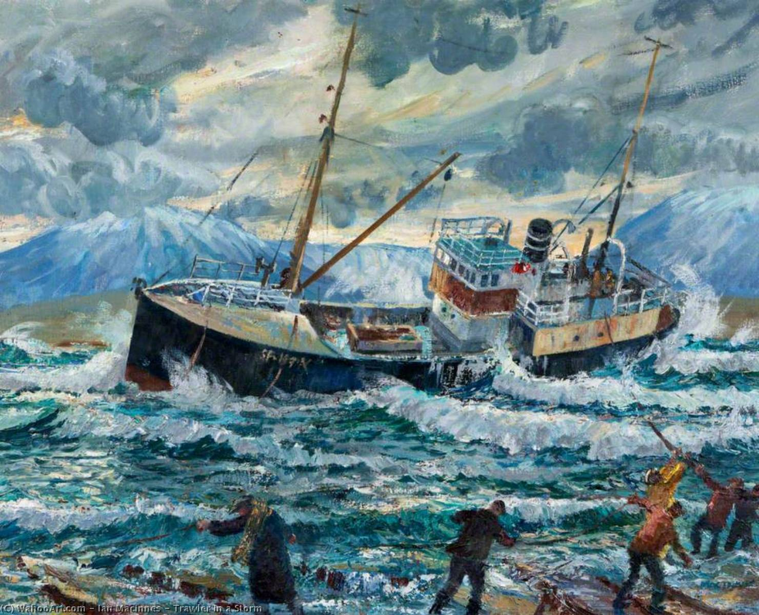 Wikioo.org - The Encyclopedia of Fine Arts - Painting, Artwork by Ian Macinnes - Trawler in a Storm