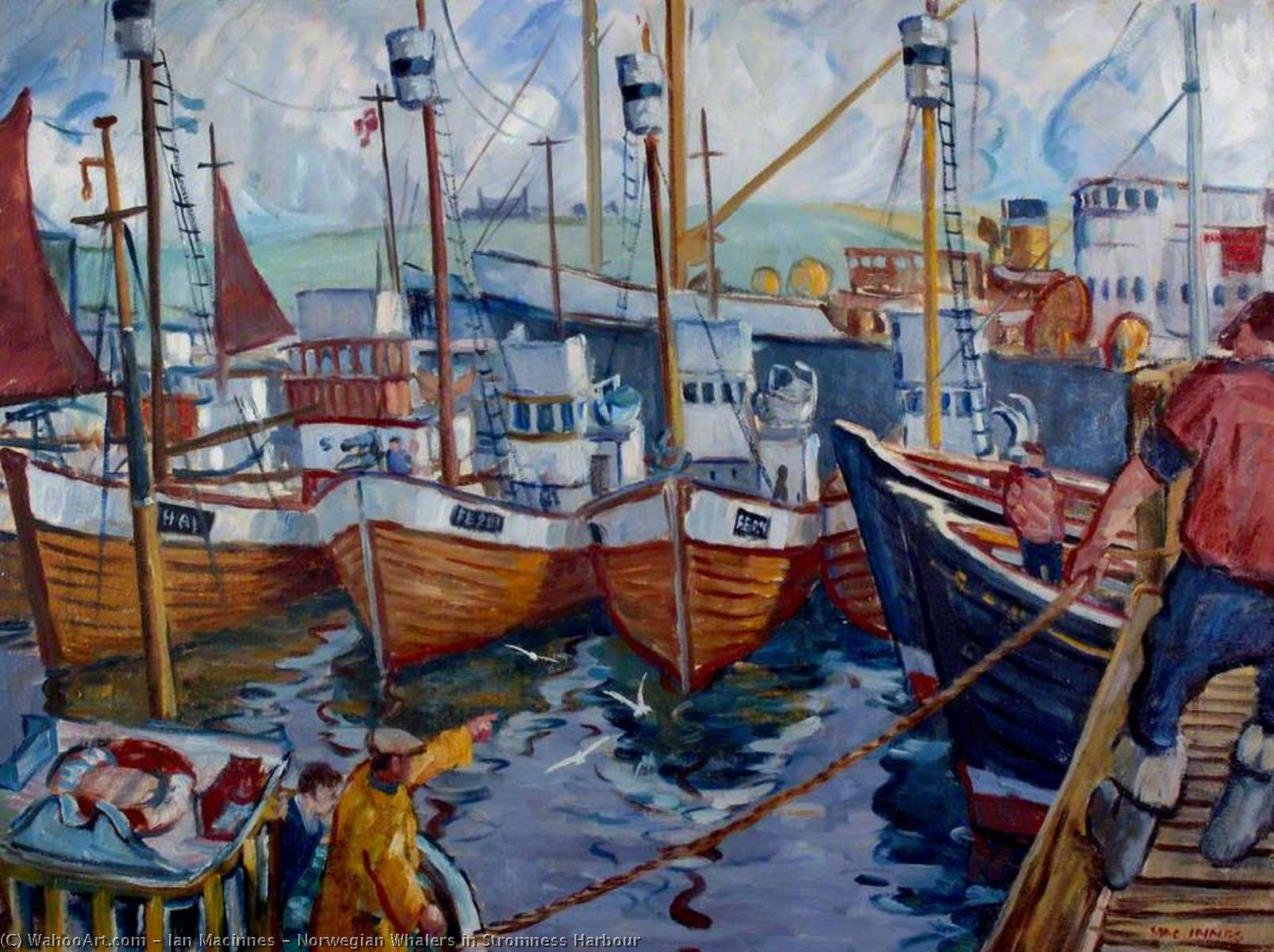 Wikioo.org - The Encyclopedia of Fine Arts - Painting, Artwork by Ian Macinnes - Norwegian Whalers in Stromness Harbour