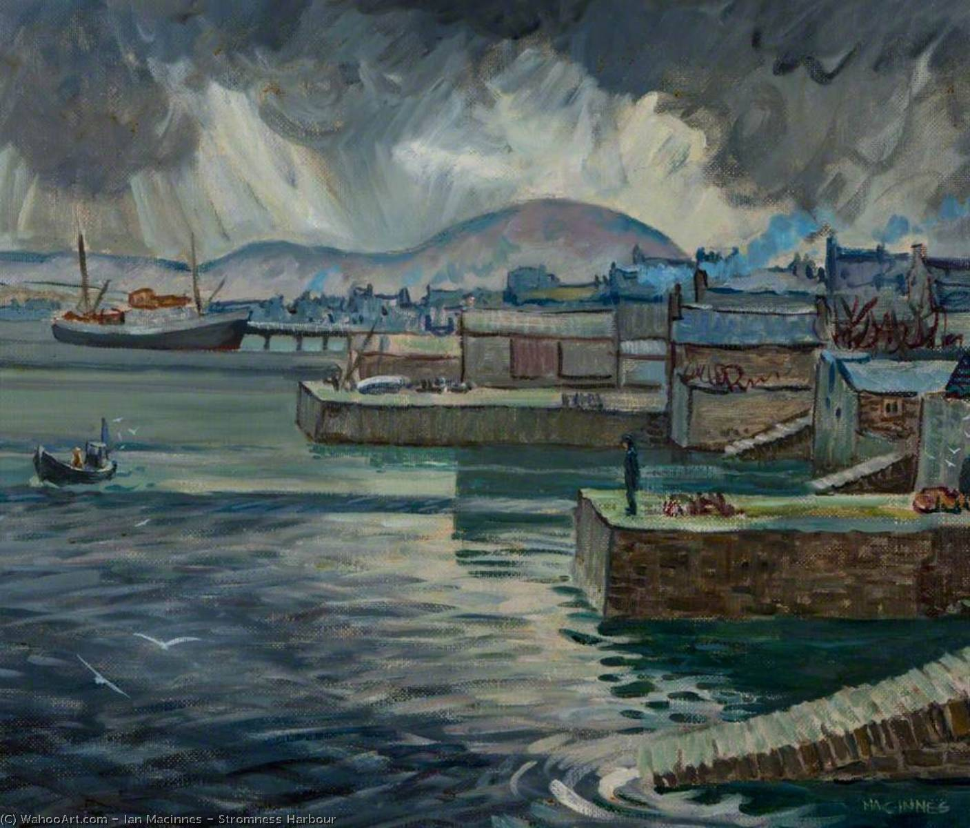 Wikioo.org - The Encyclopedia of Fine Arts - Painting, Artwork by Ian Macinnes - Stromness Harbour