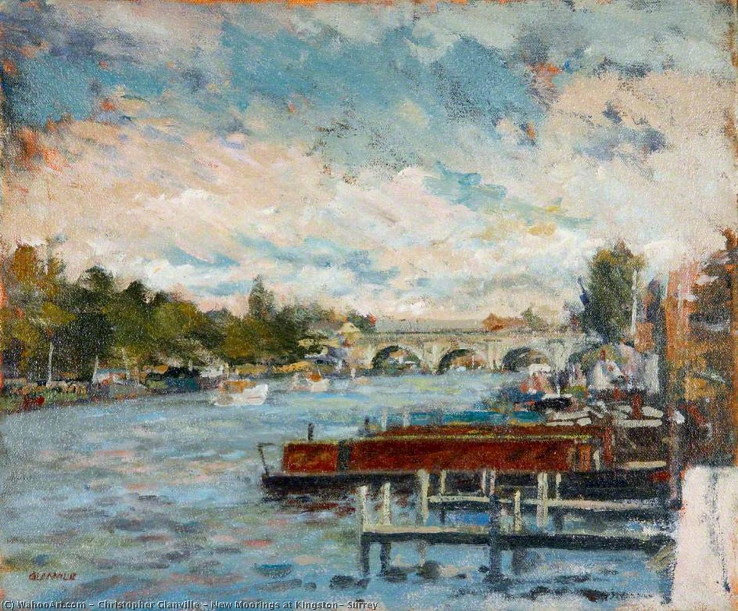 Wikioo.org - The Encyclopedia of Fine Arts - Painting, Artwork by Christopher Glanville - New Moorings at Kingston, Surrey