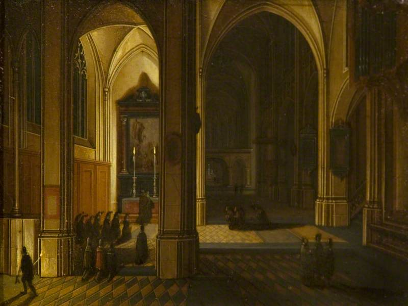 Wikioo.org - The Encyclopedia of Fine Arts - Painting, Artwork by Peeter Neeffs The Younger - Interior of St Bavo, Haarlem