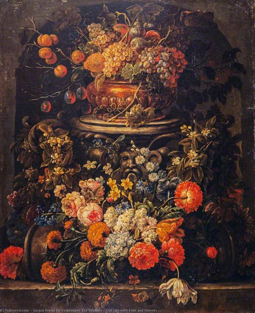 Wikioo.org - The Encyclopedia of Fine Arts - Painting, Artwork by Gaspar Peeter De Verbruggen The Younger - Still Life with Fruit and Flowers