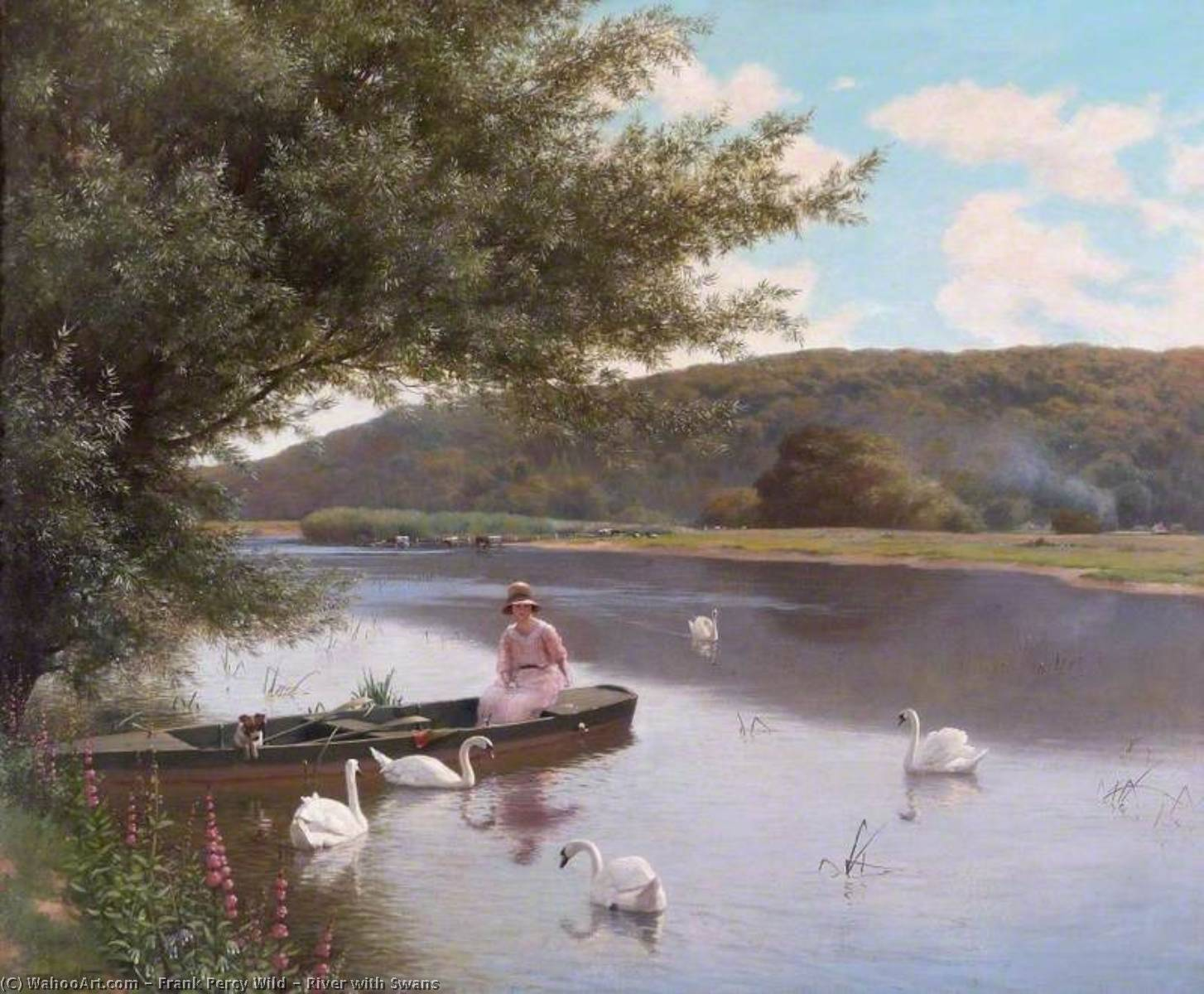 Wikioo.org - The Encyclopedia of Fine Arts - Painting, Artwork by Frank Percy Wild - River with Swans