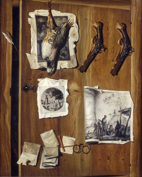 Wikioo.org - The Encyclopedia of Fine Arts - Painting, Artwork by Valette Penot Jean - TROMPE L'OEIL A LA PAIRE DE PISTOLETS