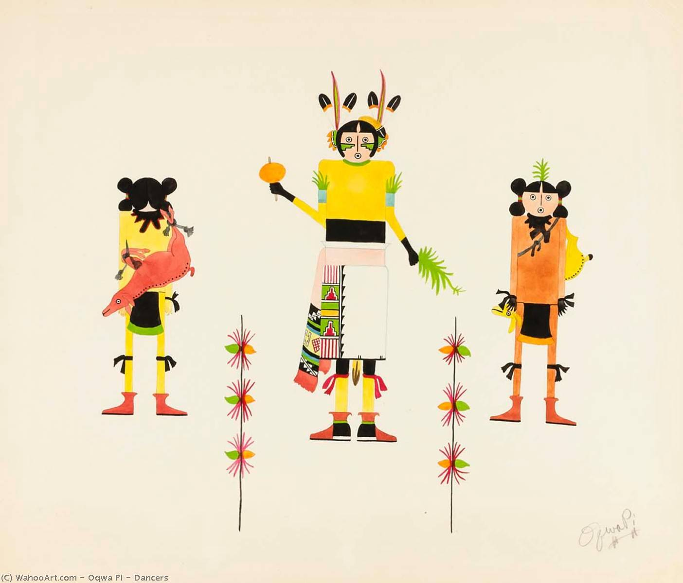 Wikioo.org - The Encyclopedia of Fine Arts - Painting, Artwork by Oqwa Pi - Dancers