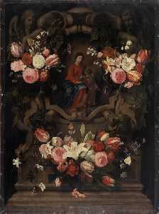 English Flower garland with Immaculate Conception
