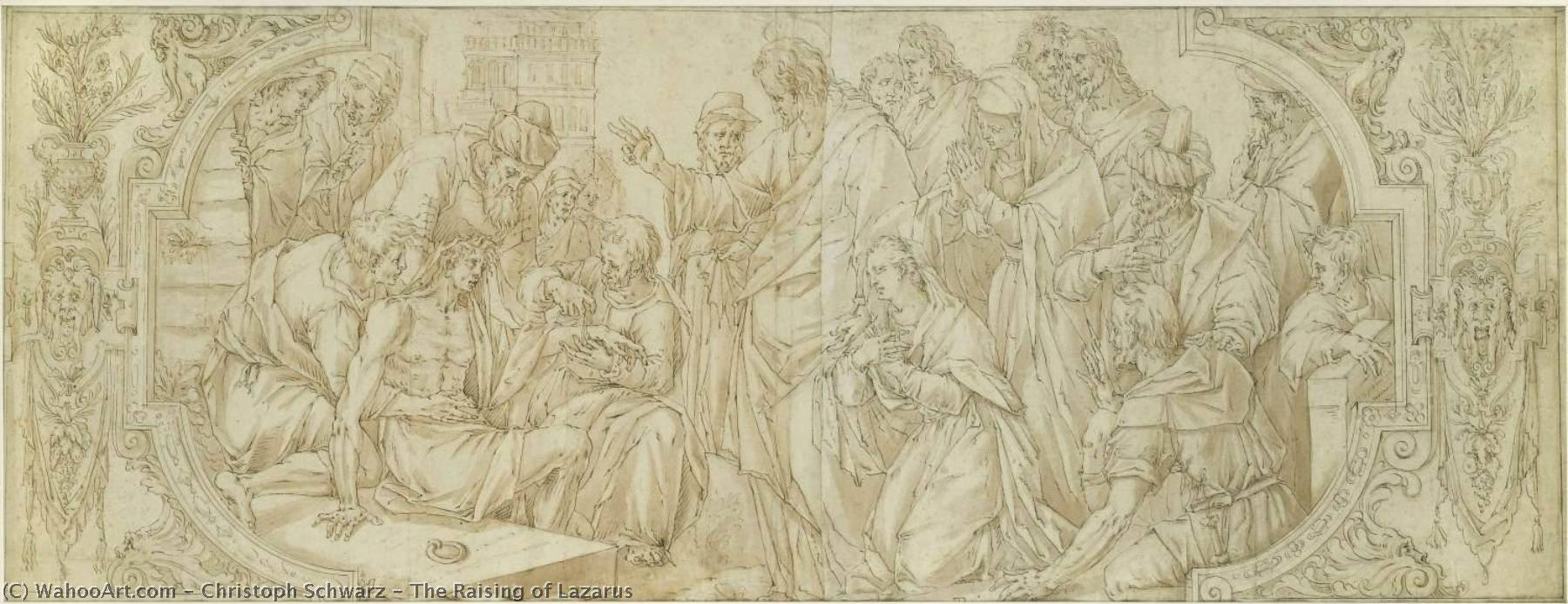 Wikioo.org - The Encyclopedia of Fine Arts - Painting, Artwork by Christoph Schwarz - The Raising of Lazarus