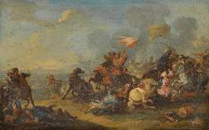 Two Battle Scenes between christians and saracens