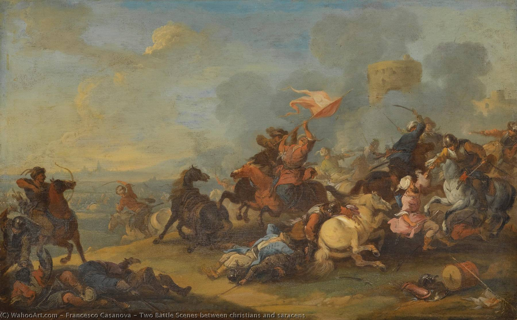 Wikioo.org - The Encyclopedia of Fine Arts - Painting, Artwork by Francesco Casanova - Two Battle Scenes between christians and saracens